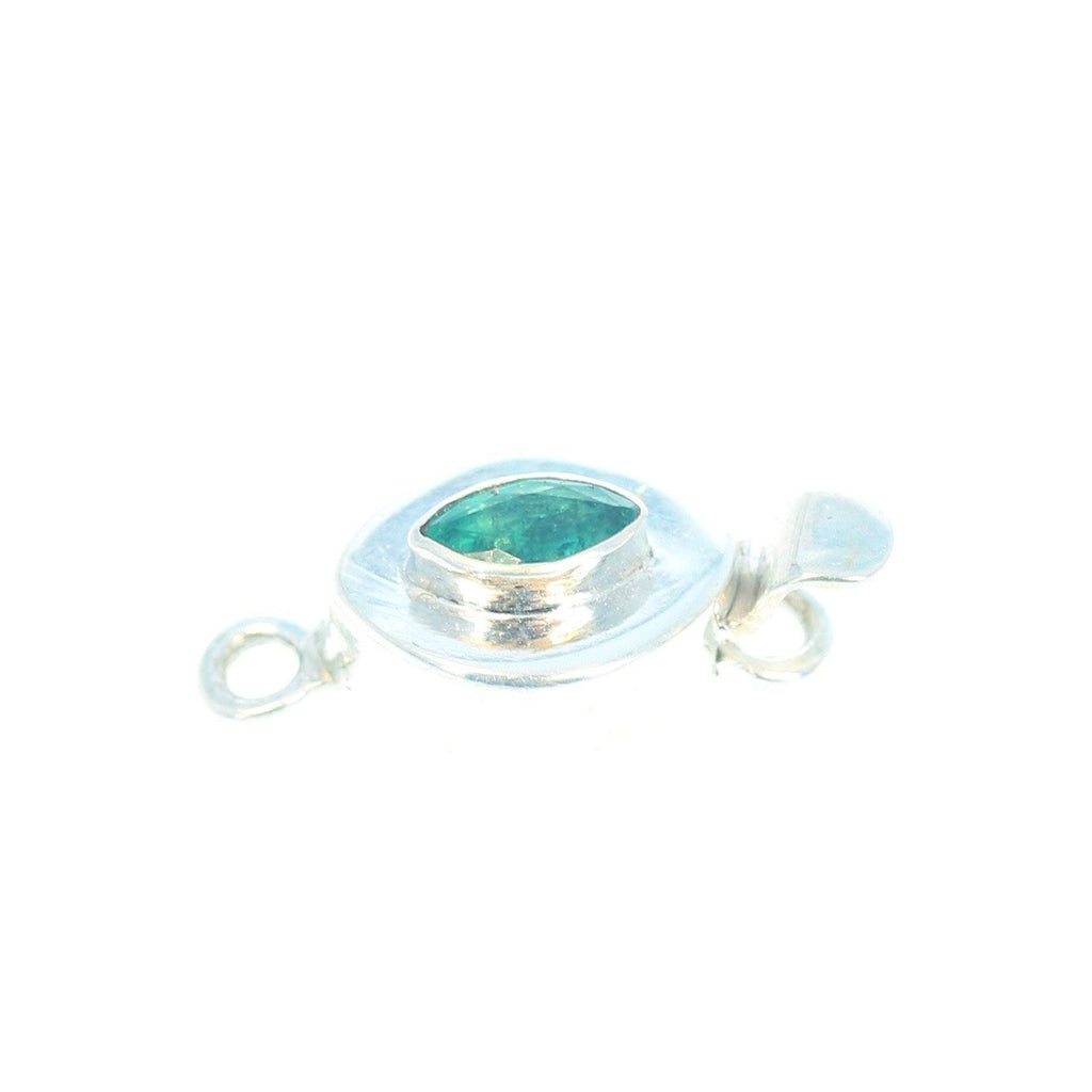 EMERALD and Sterling Silver Marquis Shape Clasp