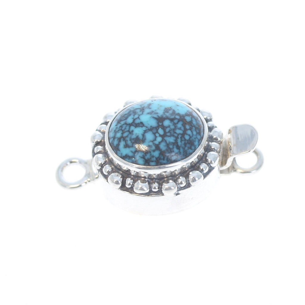 Turquoise Clasp Sterling 13x11mm Oval Teal Matrix