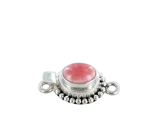 RHODOCHROSITE CLASP Oval Single Dot Design 9x11mm - New World Gems
