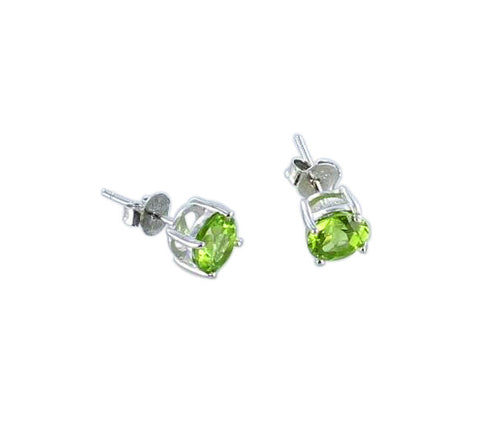 FACETED PERIDOT EARRINGS Studs Sterling 7mm - New World Gems - 1