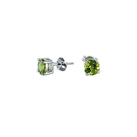 FACETED PERIDOT EARRINGS Studs Sterling 7mm - New World Gems - 2