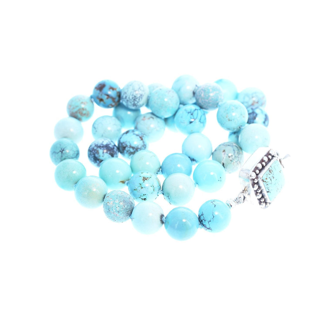 AAA TURQUOISE NECKLACE Knotted 12mm Round Beads