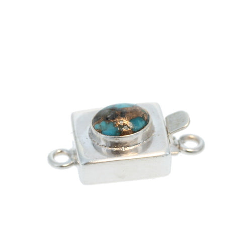 KINGMAN TURQUOISE with COPPER VEIN STERLING CLASP MODERN STYLE