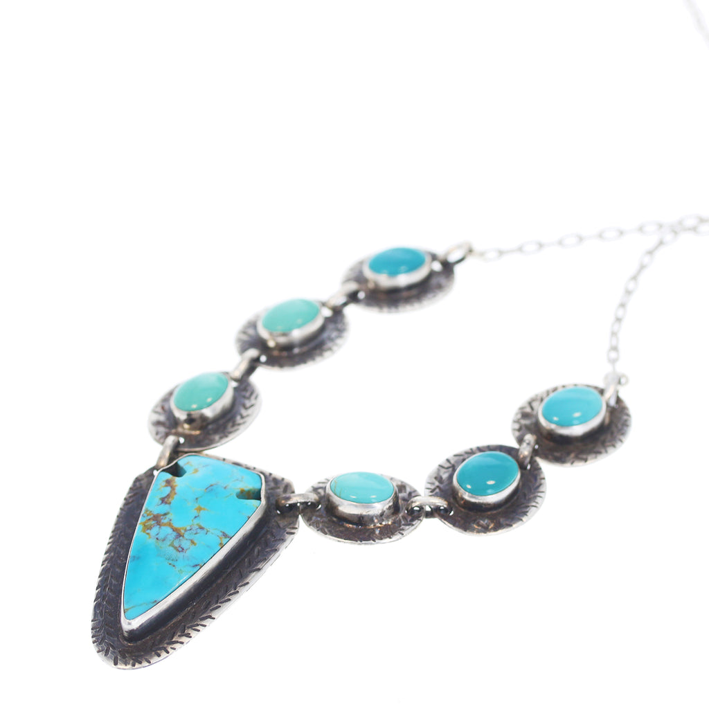 Kingman and Carico Lake Turquoise Necklace with Arrowhead Pendant