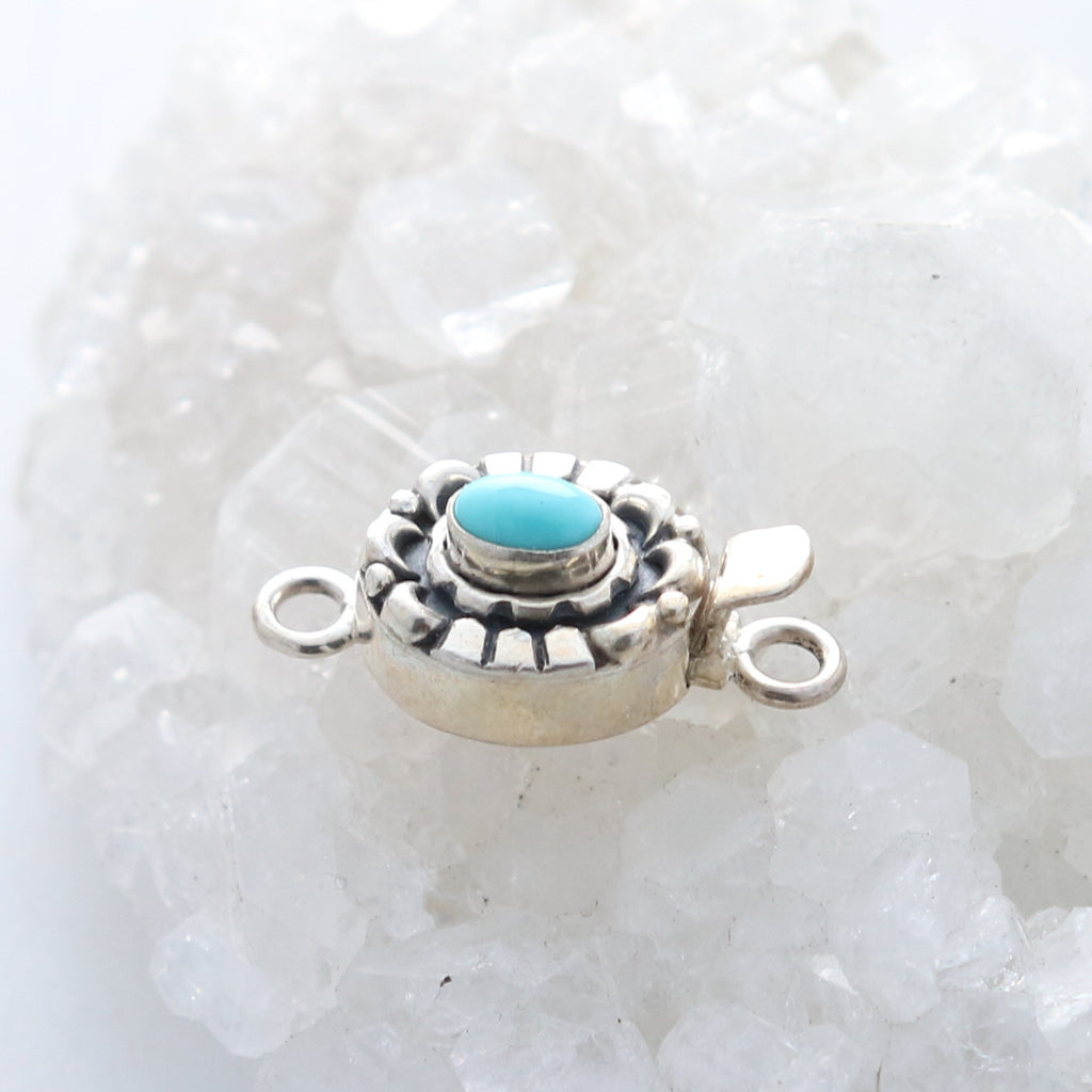 White Water Turquoise Clasp Sterling Moon Petal Design Oval 7x5mm