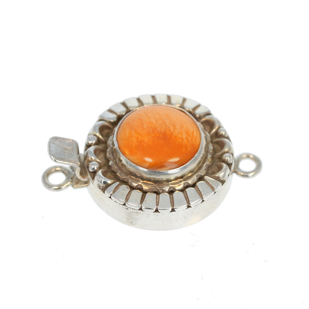 APRICOT SPINY OYSTER Clasp Sterling Moon Petal Design Round 14mm