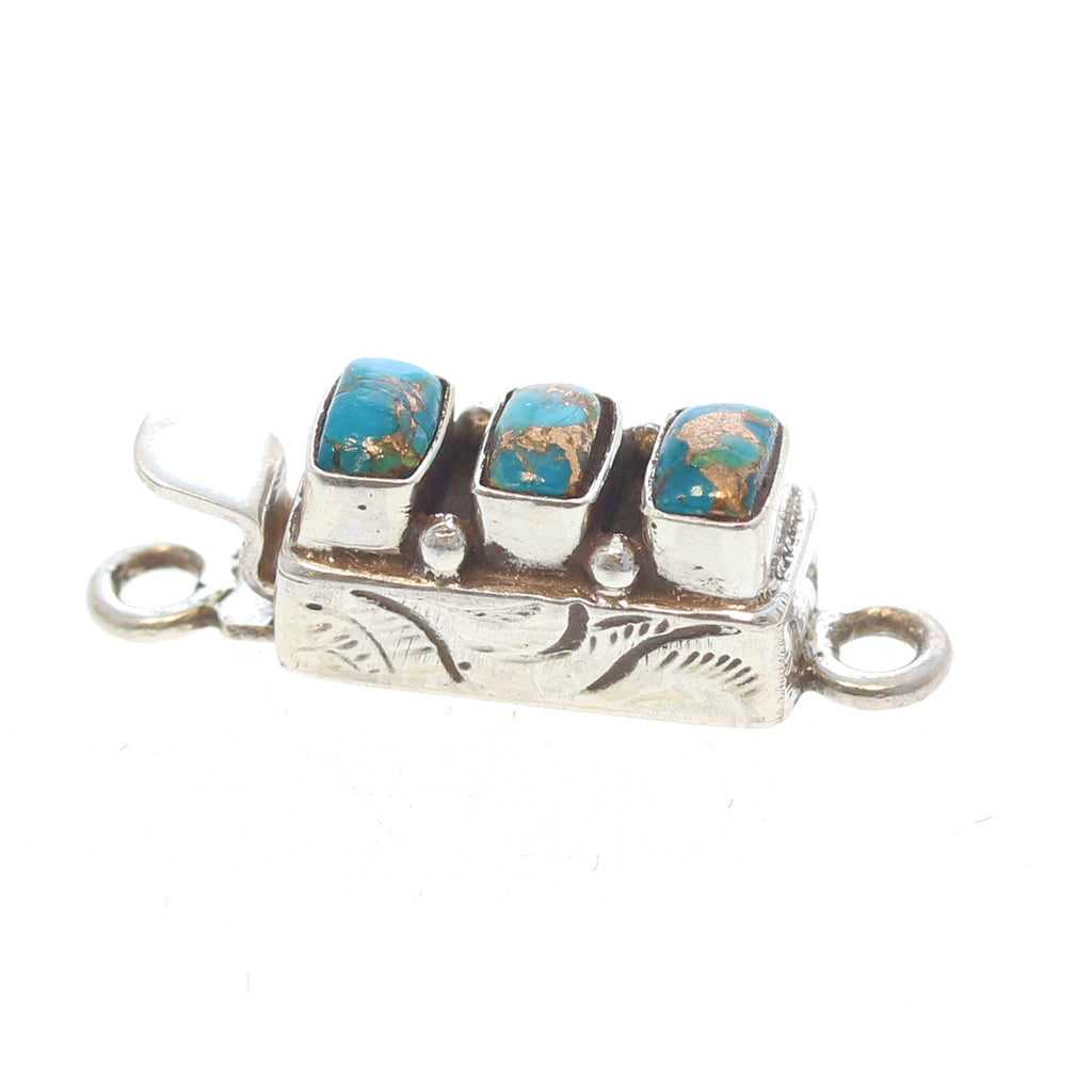 KINGMAN TURQUOISE CLASP with Copper Vein 3 Stone