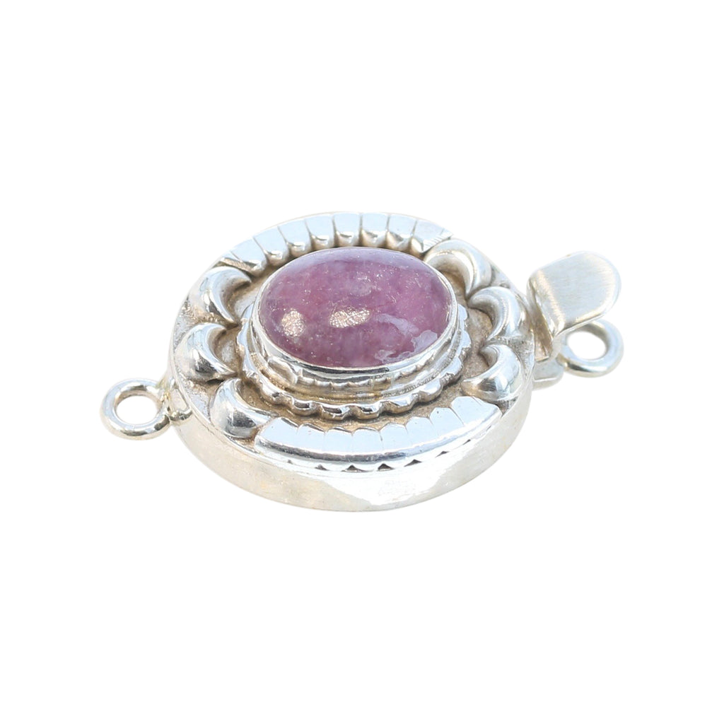 PINK TOURMALINE Clasp Sterling 9x12mm Moon Petal Design