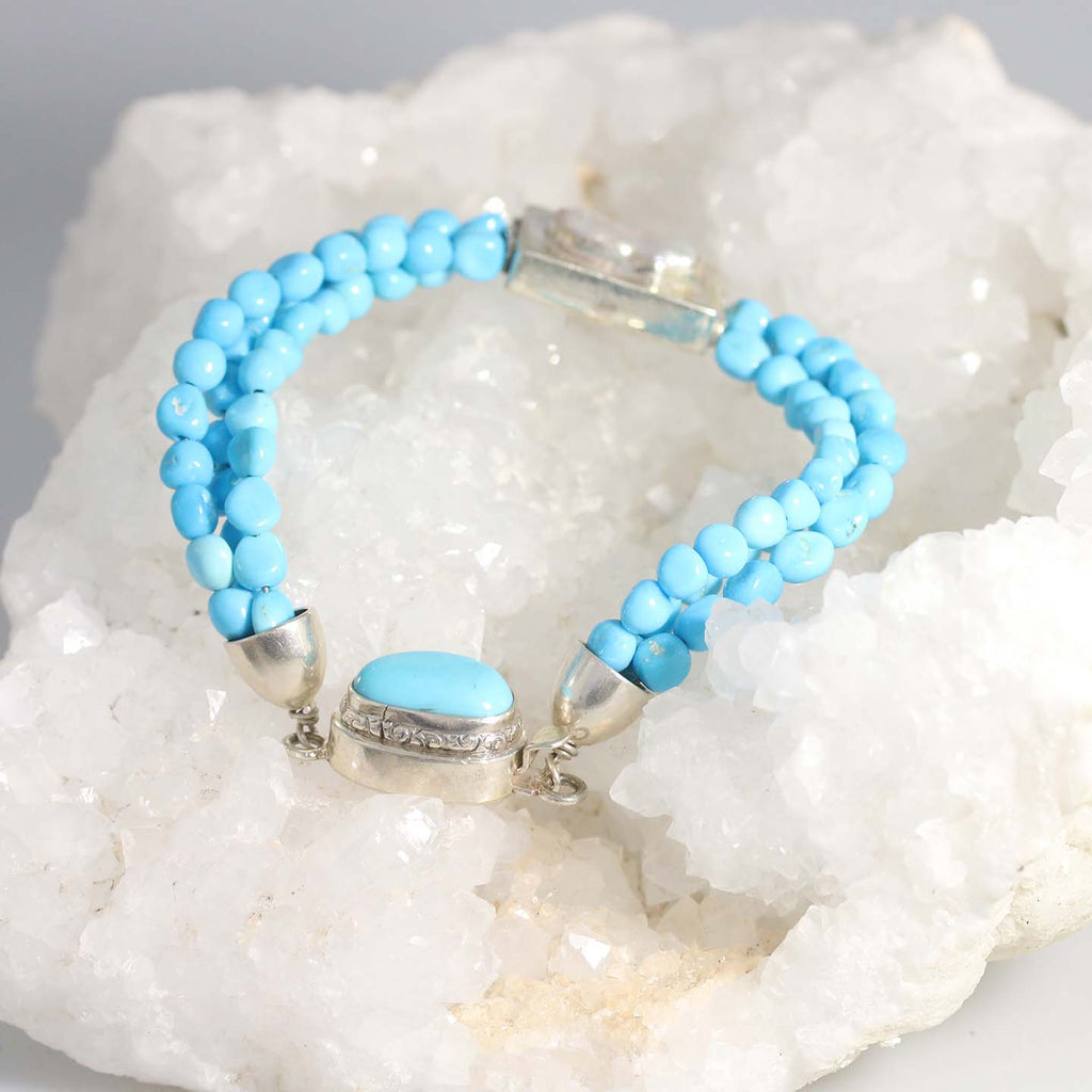 SLEEPING BEAUTY TURQUOISE 3 STRAND Bracelet Pearl Accent