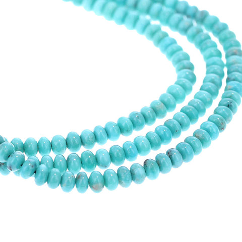 MEXICAN TURQUOISE BEADS 5mm Glassy Blue