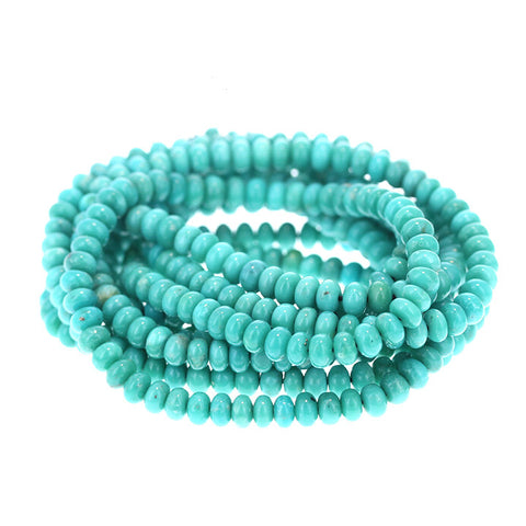 MEXICAN TURQUOISE 5mm RONDELLE BEADS SEA GREEN BLUE