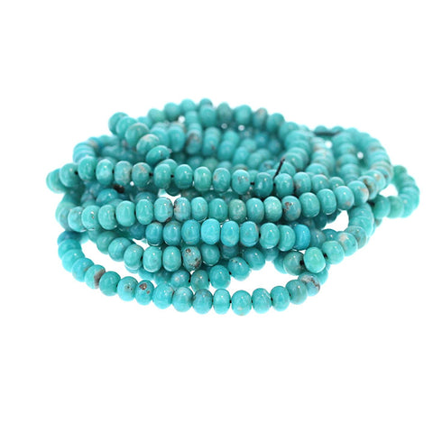 MEXICAN TURQUOISE Beads 5mm Glassy Aqua Matrix