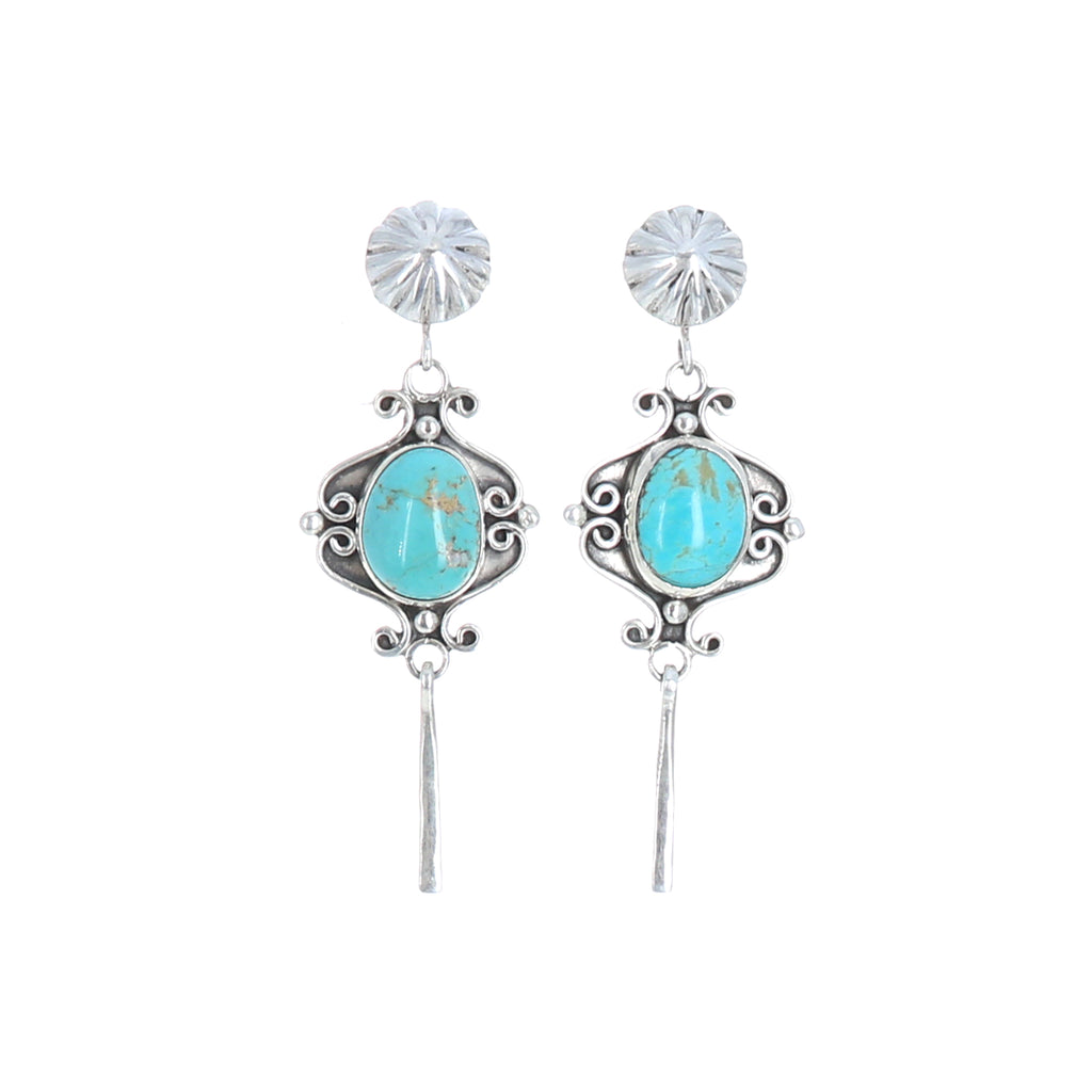 ROYSTON TURQUOISE Scroll Earrings Sterling Sky Blue