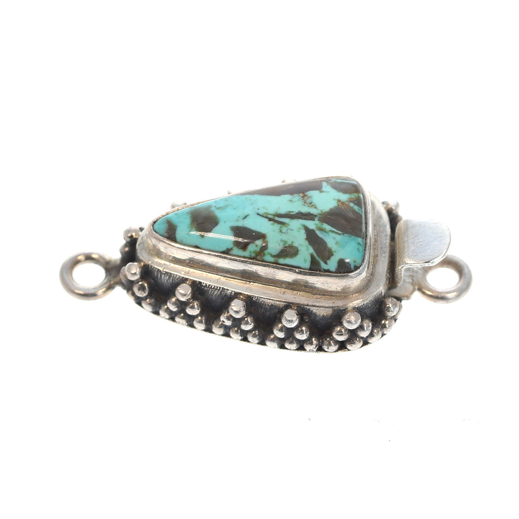 CARICO LAKE TURQUOISE TRIANGLE CLASP STERLING #11