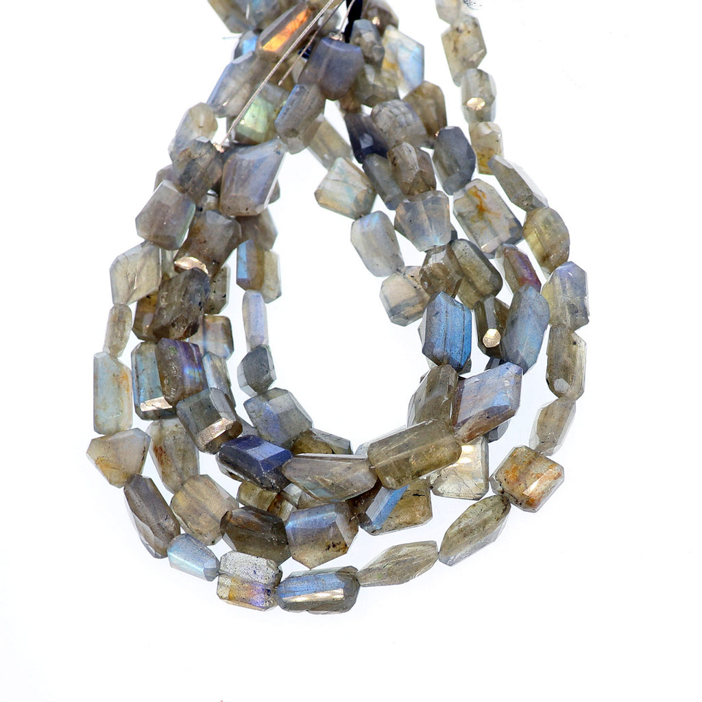LABRADORITE BEADS FACETED Free Form Shaped 10""
