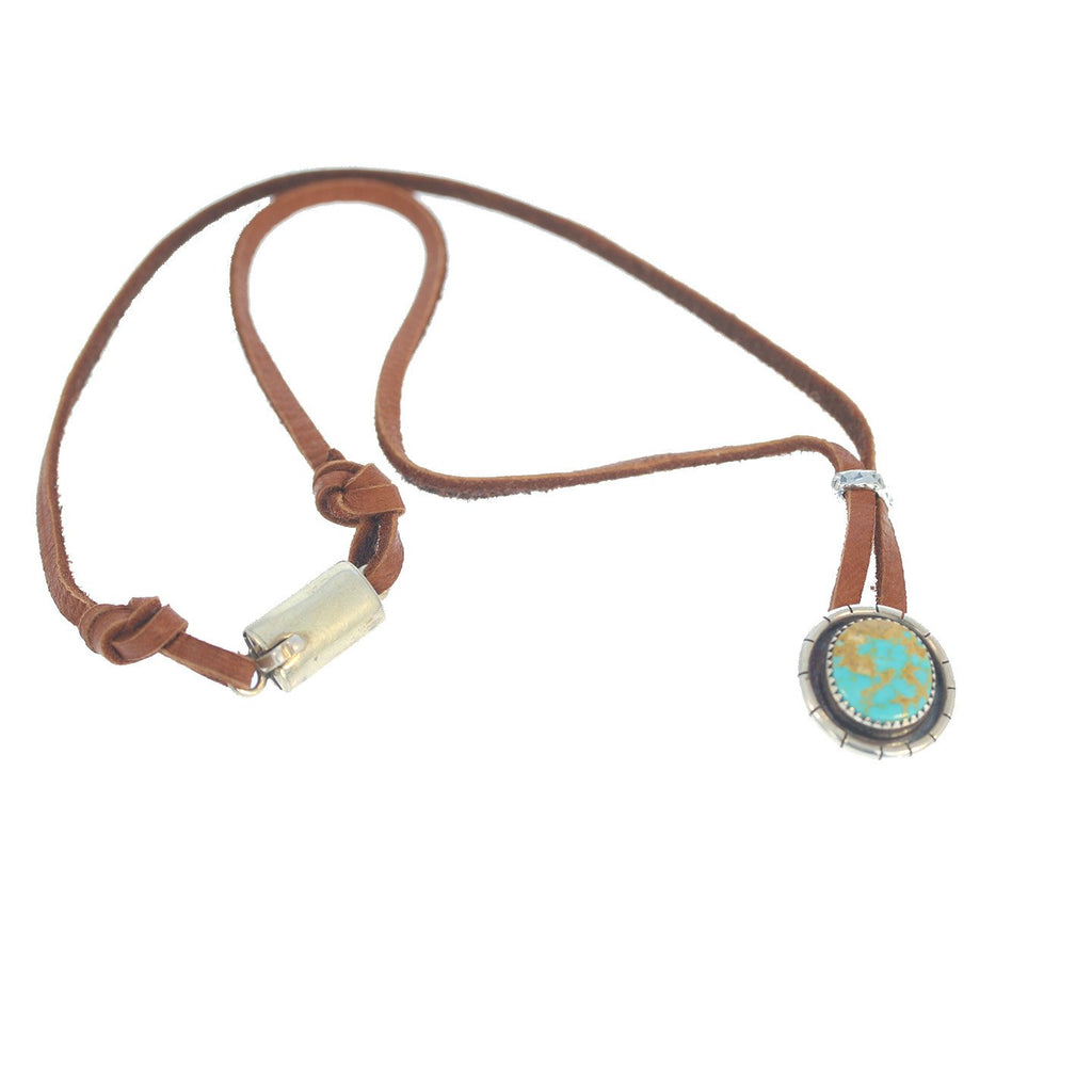 Kingman Turquoise Necklace Leather Sterling Pendant 18""