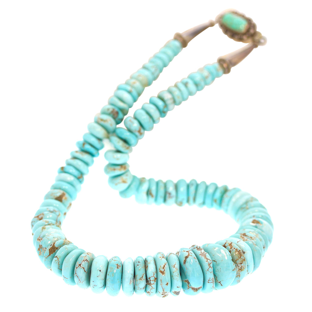 "DRY CREEK TURQUOISE Beads Necklace 20"" Southwest Rare Turquoise Collectors"