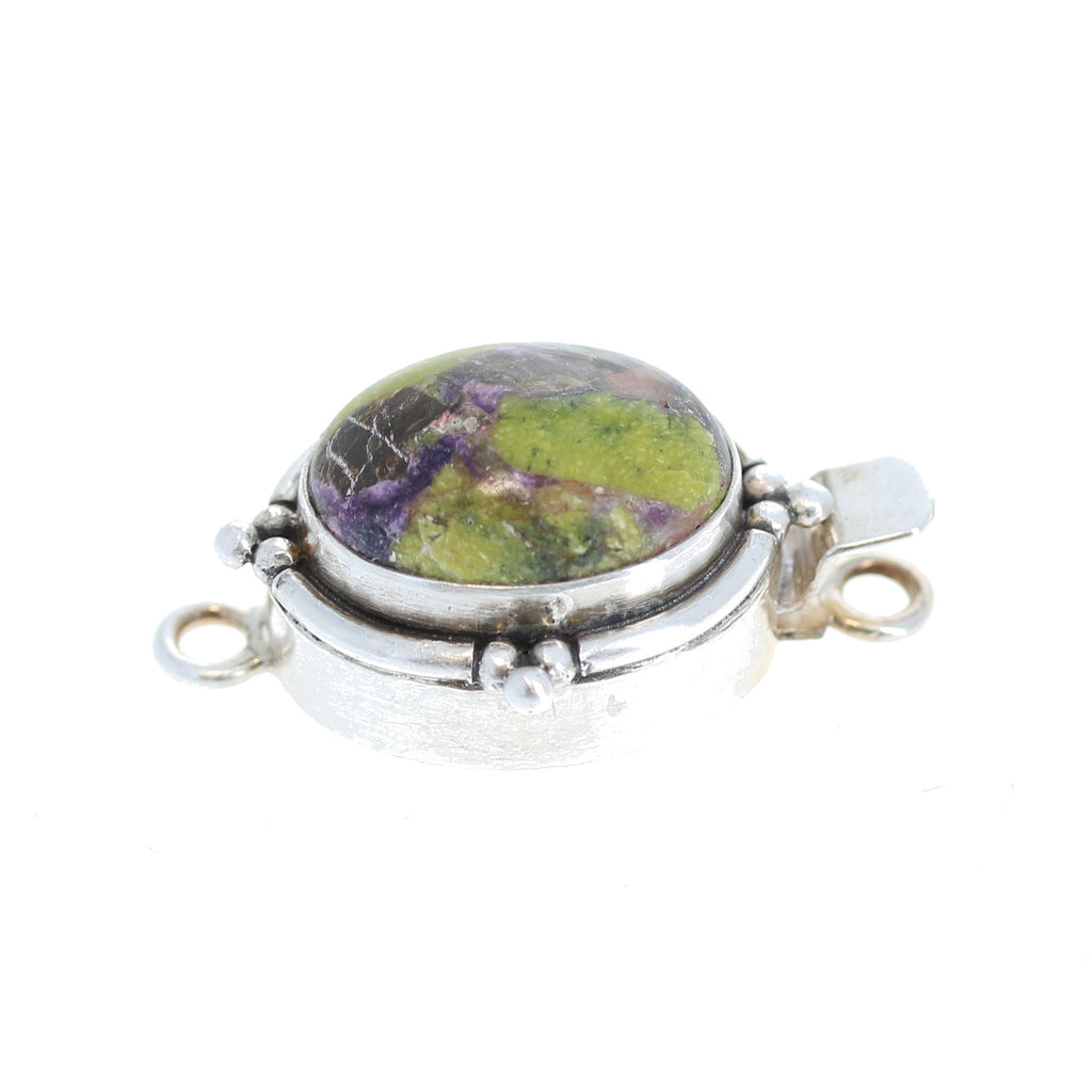 STICHTITE CLASP Sterling Silver Purple and Green 17x13mm