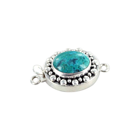 CHRYSOCOLLA CLASP Sterling Dot Design 16x13mm - New World Gems - 1