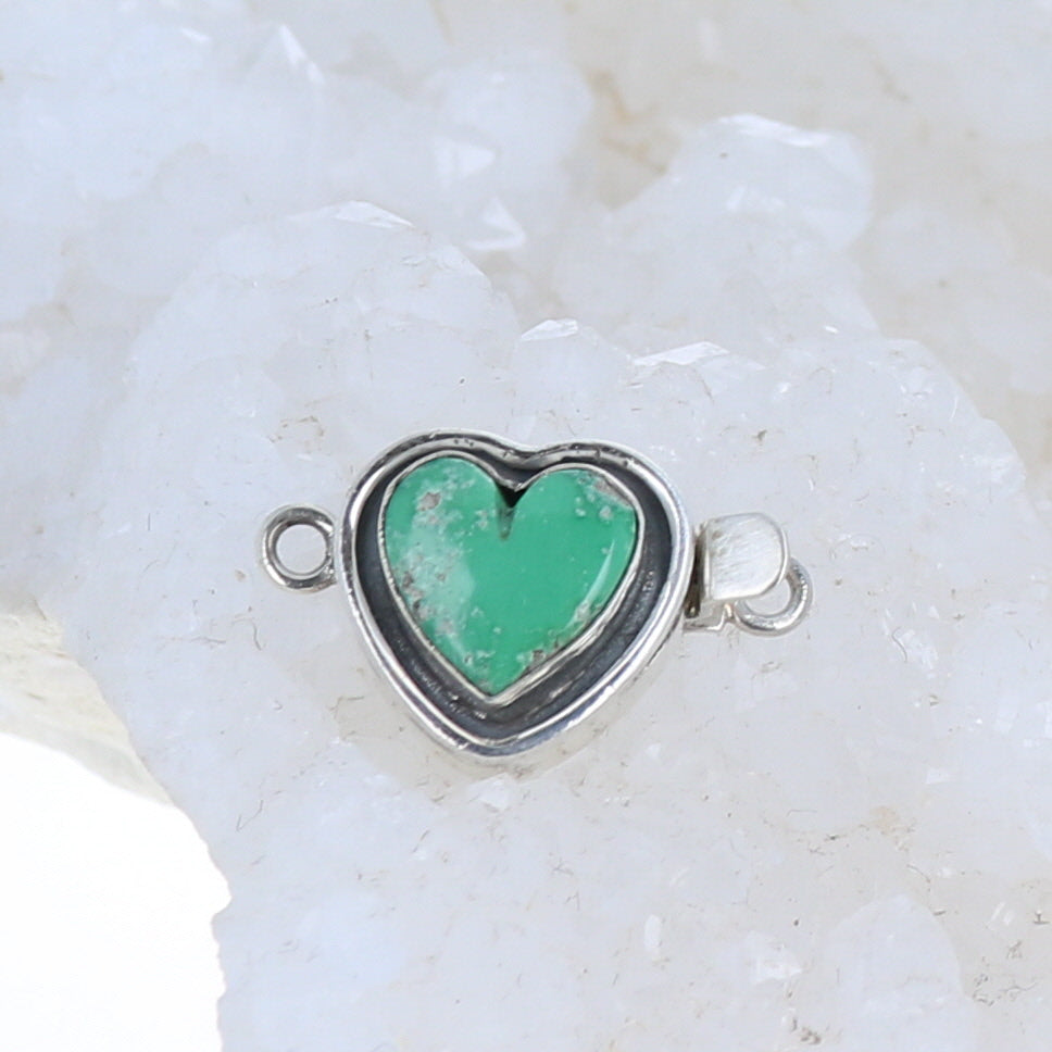 Variscite Clasp Sterling Heart Shaped Southwest Detail