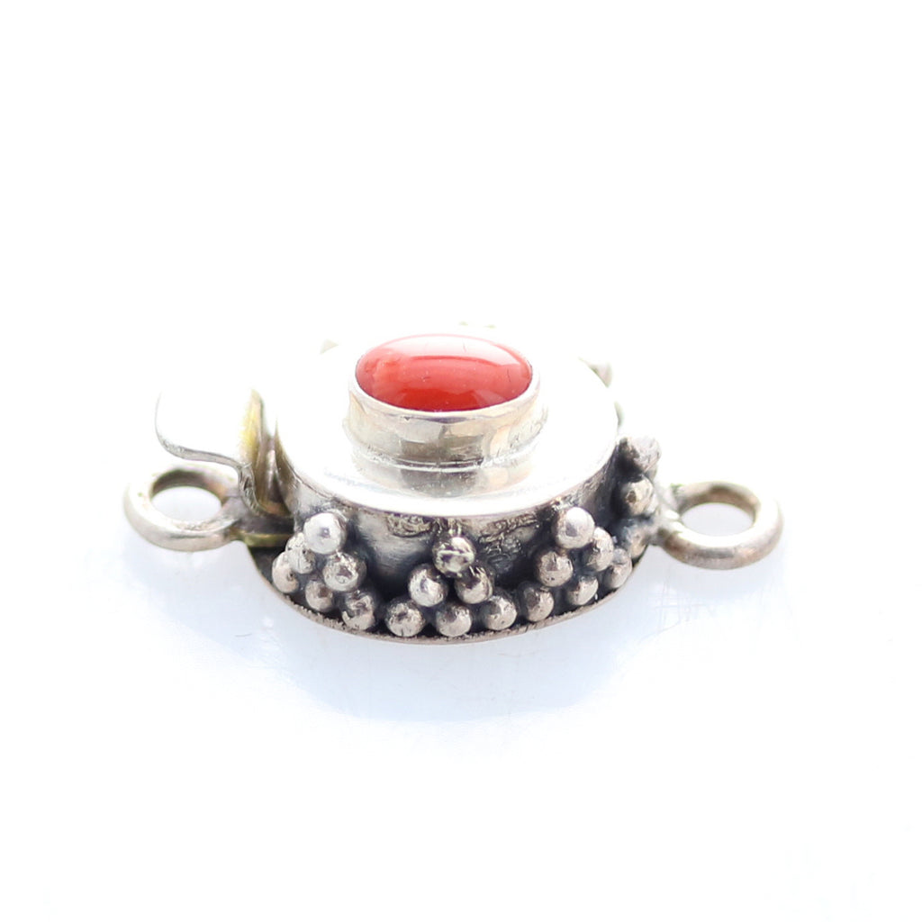 Red Coral Clasp Small Oval Sterling Granulated