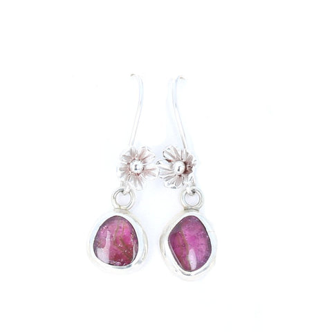 Elegant Pink Tourmaline Sterling Earrings