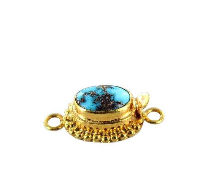 18K GOLD CLASP ARMENIAN TURQUOISE BLUE 12x7.8mm - New World Gems