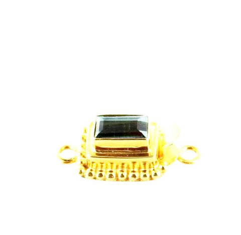 18K GOLD CLASP TEAL TOURMALINE FACETED 9x5mm CUSHION - New World Gems