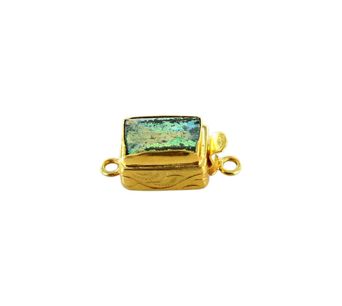 18K GOLD CLASP ANCIENT BACTRIAN GLASS CLASP GREEN - New World Gems