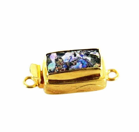 18K GOLD ANCIENT BACTRIAN GLASS CLASP PURPLE - New World Gems