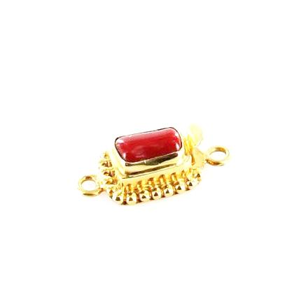18k GOLD CLASP Mediterranean Red Coral Cushion 9x5.8mm - New World Gems