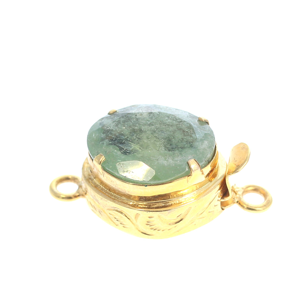 18K GOLD CLASP FACETED GREEN SAPPHIRE FREE FORM
