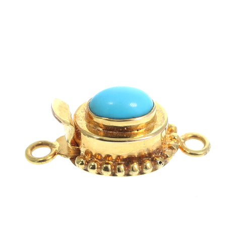 18K GOLD CLASP SLEEPING BEAUTY TURQUOISE OVAL