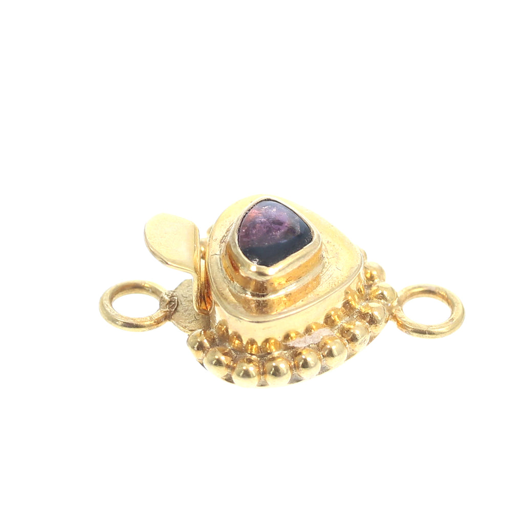 18K GOLD CLASP Tourmaline Plum Color