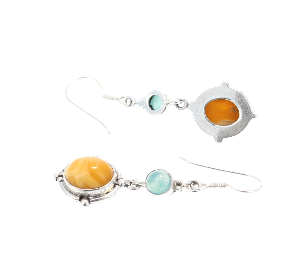 AMBER and GEM SILICA EARRINGS STERLING
