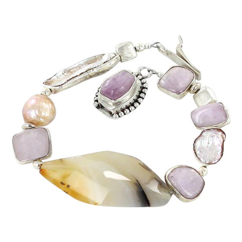 KUNZITE PEARL AGATE STERLING SILVER BRACELET - New World Gems - 1