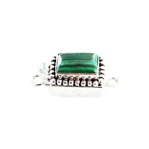 MALACITE CLASP CUSHION Sterling 13x9mm - New World Gems