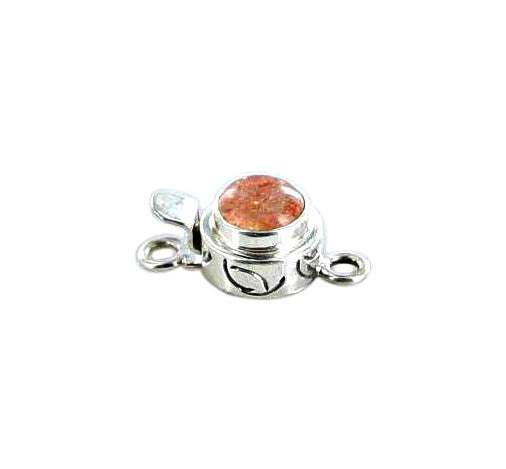 SUNSTONE CLASP STERLING Round 7.5mm - New World Gems