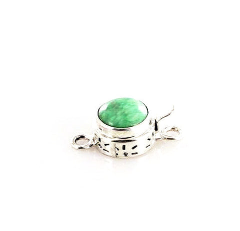 VARISCITE CLASP STERLING 10mm Round Sterling - New World Gems
