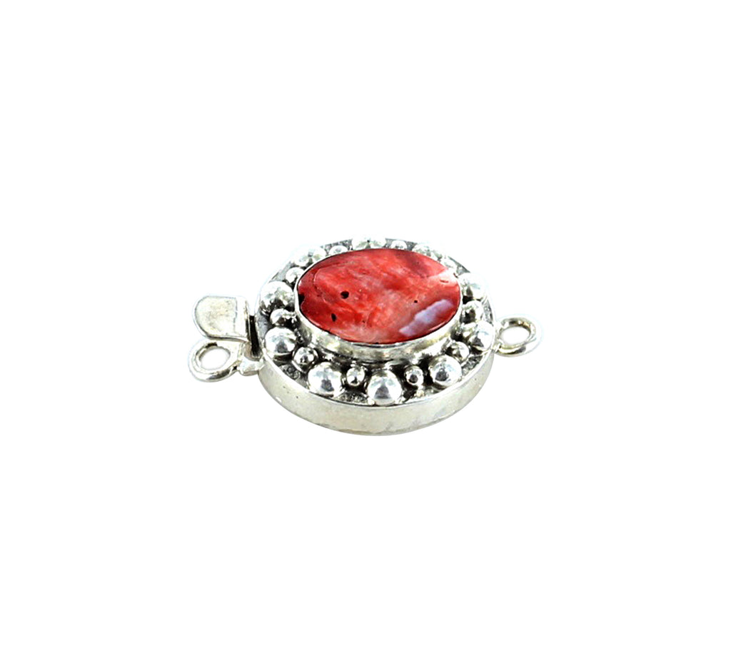 SPINY OYSTER CLASP Red Orange Oval 14x11mm Dot Design - New World Gems