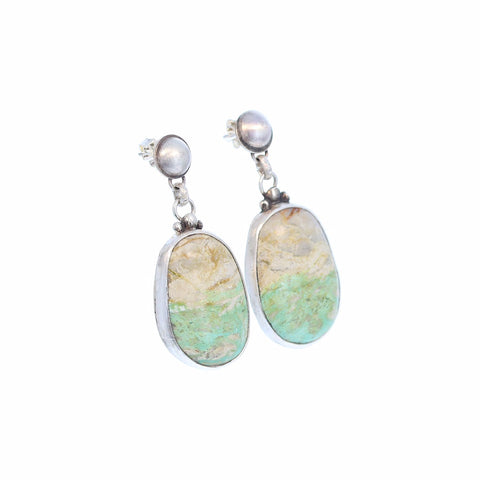 ROYSTON RIBBON TURQUOISE Earrings Sterling Pastel Green