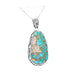 ARMENIAN TURQUOISE PENDANT Large Teardrop Blue Sterling #2