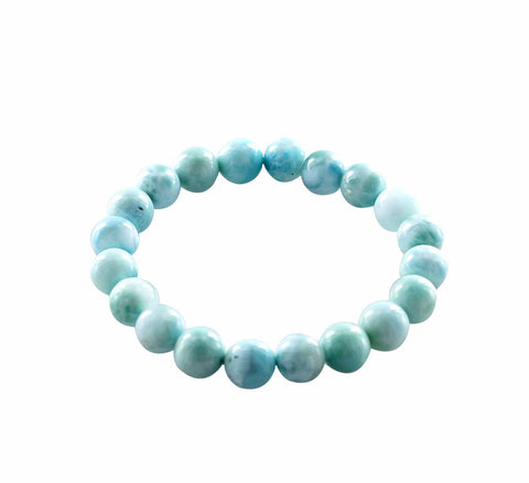 LARIMAR BRACELET 10mm Round Beads Stretch - New World Gems - 1
