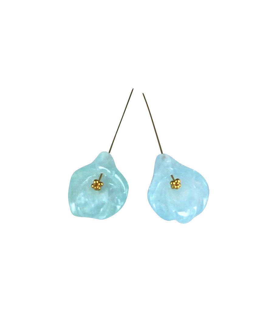 AQUAMARINE FLOWER EARRING SET 14x11.2mm BLUE - New World Gems