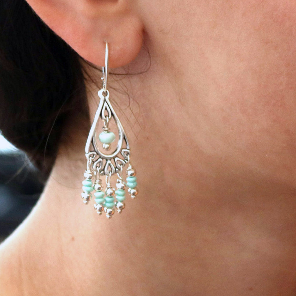 WHITE CREEK TURQUOISE Earrings Sterling Chandelier
