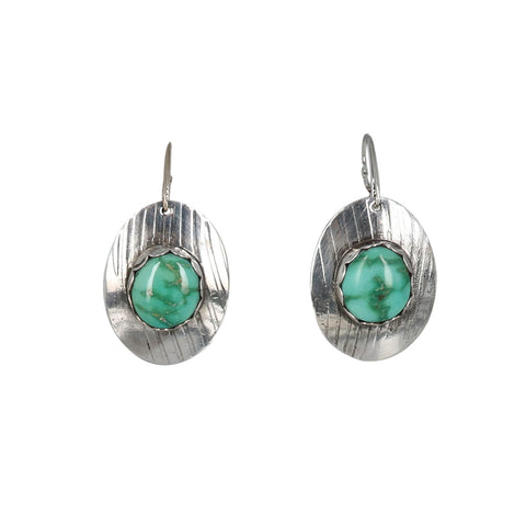 Emerald Valley TURQUOISE Earrings Sterling Large Oval Patterns