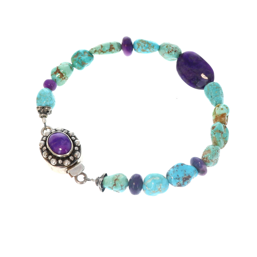 Turquoise #8 Mine Bracelet with Sugilite Sterling