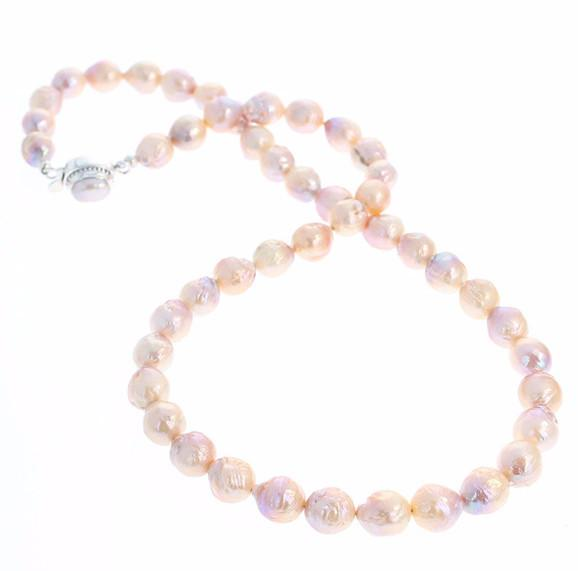 KASUMI PEARLS ROSE COLOR Necklace Sterling 10mm 21""