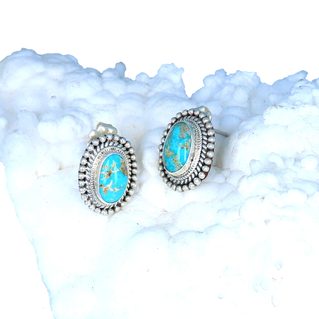AAA Armenian Turquoise Earrings Post Style Blue Golden Colors