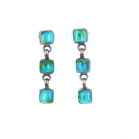 Sonoran Mountain Turquoise Sterling Earrings 3 Stone Teal Oxidized